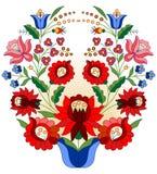 Hungarian folk basket. Colorful basket hungarian folk motif vector illustration