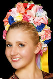 Hungarian Folk Dancer. Traditional hungarian folk dancer wearing costume and headpiece royalty free stock photo