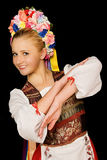 Hungarian Folk Dancer. Traditional hungarian folk dancer wearing costume and headpiece stock photography
