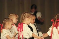 Hungarian folk dancers Royalty Free Stock Images