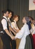 Hungarian folk dancers Stock Photos