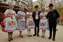 Hungarian folk dancers Stock Images