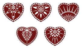 Hungarian folk heart ornament. In white background vector illustration
