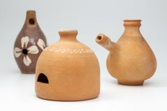 Hungarian folk wind musical instruments made from clay stock photography