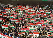Hungarian football fans in Romania-Hungary Stock Images