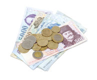 Hungarian Forint Banknotes and Coins Stock Photo