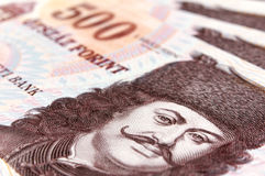 Hungarian forint close up stock images