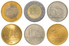 Hungarian forint coins collection set. Isolated on white background Stock Image