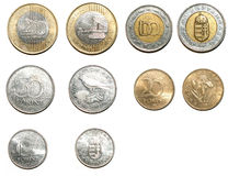 Hungarian forint coins. Many hungarian forints. 100 and 200 HUF coins Royalty Free Stock Photos