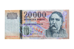 Hungarian Forint - HUF (20.000). There is the biggest Hungarian bank note: 20.000 Forints. It's approximately 70 Euros, 100 USD Stock Images