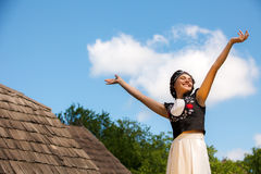 Hungarian girl in national clothes Stock Photo