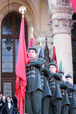 Hungarian gonfaloniers. With cockade with the national colours on 15.03.2012 on the hungarian revolution day, Kossuth square Parliament, Budapest, Hungary Stock Photos