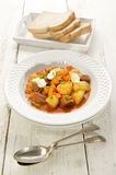 Hungarian goulash with beef and sour cream Stock Photo