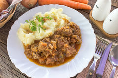 Hungarian goulash with mashed potatoes in plate Royalty Free Stock Photo
