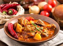 Hungarian goulash in plate Stock Image