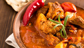 Hungarian goulash in plate closeup royalty free stock photography