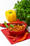 Hungarian goulash with potato pancakes Stock Photo