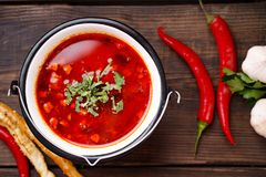 Hungarian goulash soup bogracs in metal bowl. Traditional Hungarian goulash soup bogracs in metal bowl. Nourishing and delicious national food, ethnic restaurant stock photography