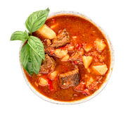 Hungarian goulash top view isolated Royalty Free Stock Photo