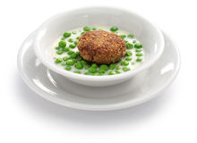 Hungarian green peas stew and fried meatball Stock Images