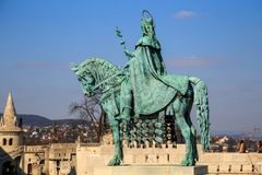 Hungarian hero on a horse - Equestrian statue of King Stephen I Szent Istvan kiraly in the Fischer Bastion, 1906, Buda. Castle royalty free stock photo