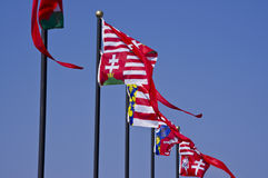 Hungarian historic flags Stock Photography