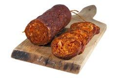 Hungarian homemade salami. Hungarian homemade paprika salami (sasuage royalty free stock image