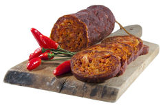 Hungarian homemade salami Royalty Free Stock Photography