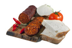 Hungarian homemade salami Royalty Free Stock Images
