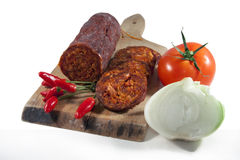 Hungarian homemade salami Stock Image