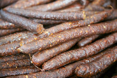 Hungarian Homemade Smoked Sausages With Red Paprika At Rural Mar Stock Images