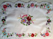 Hungarian Kalocsa Hand Embroidered Tablecloth Runner Floral Roses Meadow Flowers Stock Photography