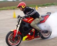 Angyal Zoltán burnout. Hungarian Kunmadaras Airport stunt show Royalty Free Stock Photos