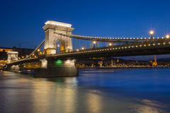 Hungarian landmarks in Budapest at night. Hungarian landmarks, Chain Bridge, Royal Palace and Danube river in Budapest at night Stock Photo