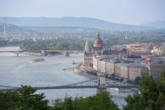 Hungarian Landmarks on the Danube. In Budapest: Parliament, Buda District, Bridges on the River, Margrit Island Stock Photo