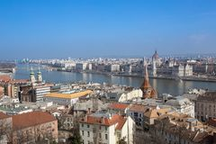 Hungarian Landmarks on the Danube. In Budapest: Parliament, Buda District, Margrit Bridge Stock Photo