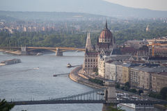Hungarian Landmarks on the Danube. In Budapest: Parliament, Buda District, Margrit Bridge Royalty Free Stock Image