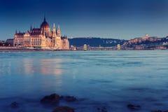 Hungarian landmarks,panorama of Budapest at night royalty free stock photos