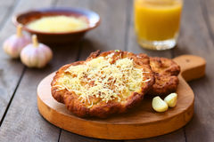 Hungarian  Langos with Garlic and Cheese Stock Images
