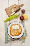 Hungarian langos with sour cream and garlic Stock Image
