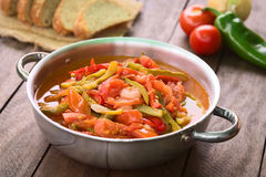 Hungarian Lecso. Hungarian traditional dish called Lecso, a vegetarian stew made of onion, pepper and tomato, seasoned with salt and pepper. It can be royalty free stock photo