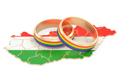 Hungarian map with LGBT rainbow rings, 3D rendering Stock Photo
