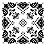 Hungarian motifs are square-shaped. Monochrome Royalty Free Stock Images