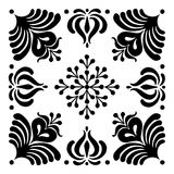 Hungarian motifs are square-shaped. Monochrome Stock Photos