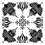 Hungarian motifs are square-shaped. Monochrome Stock Image