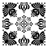 Hungarian motifs are square-shaped. Monochrome Stock Photo