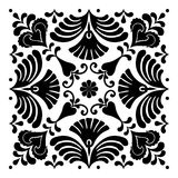 Hungarian motifs are square-shaped. Monochrome Stock Images