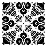 Hungarian motifs are square-shaped. Monochrome Royalty Free Stock Photography
