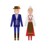Hungarian national costume. Illustration of national dress on white background Stock Photos