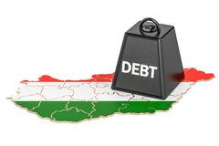 Hungarian national debt or budget deficit, financial crisis conc. Ept, 3D Stock Images